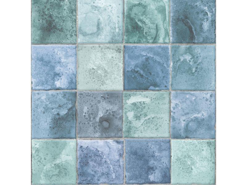 Papier peint intissé dalles 1005 x 52cm vert, bleu 103961