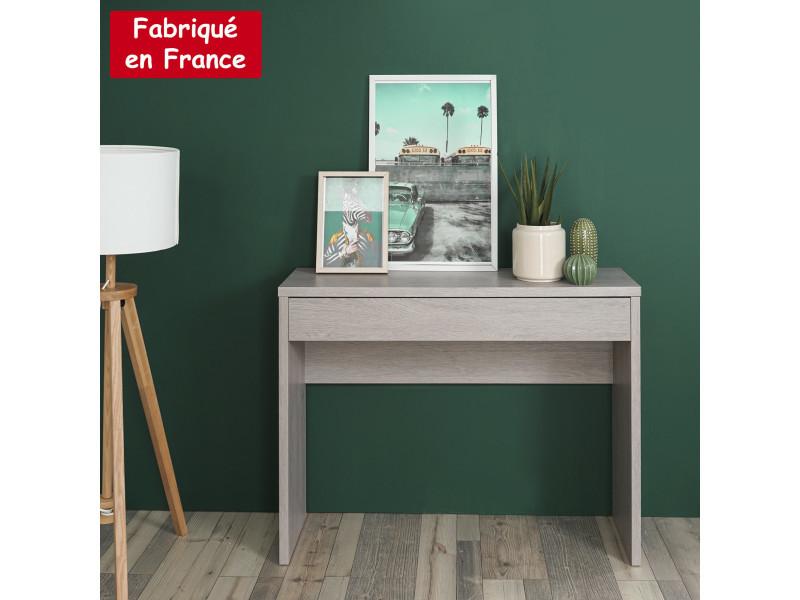 Console bureau table chêne bois avec un tiroir