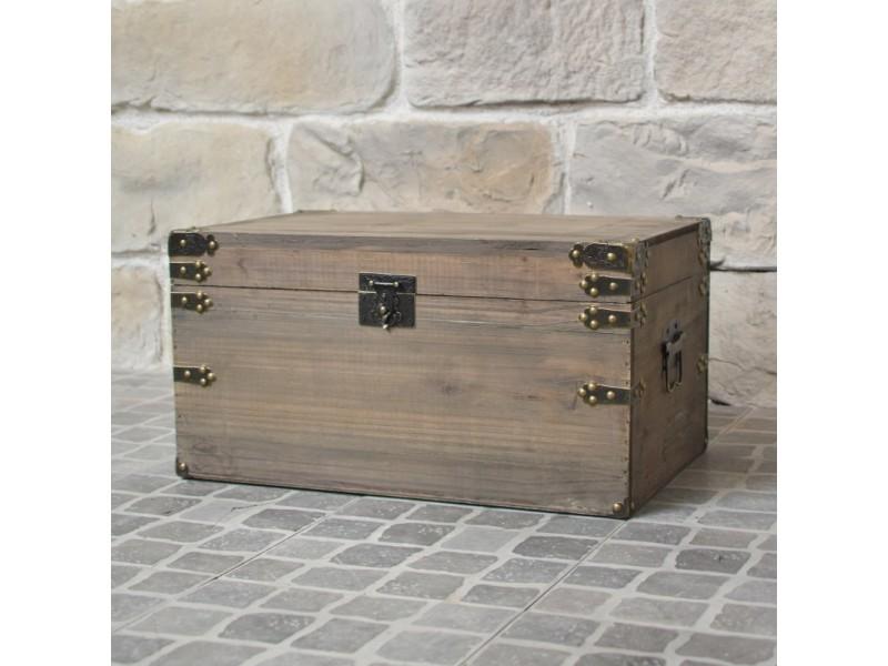 la meilleure attitude 40611 654ab Coffre en bois style ancien malle de rangement bois 55 cm ...