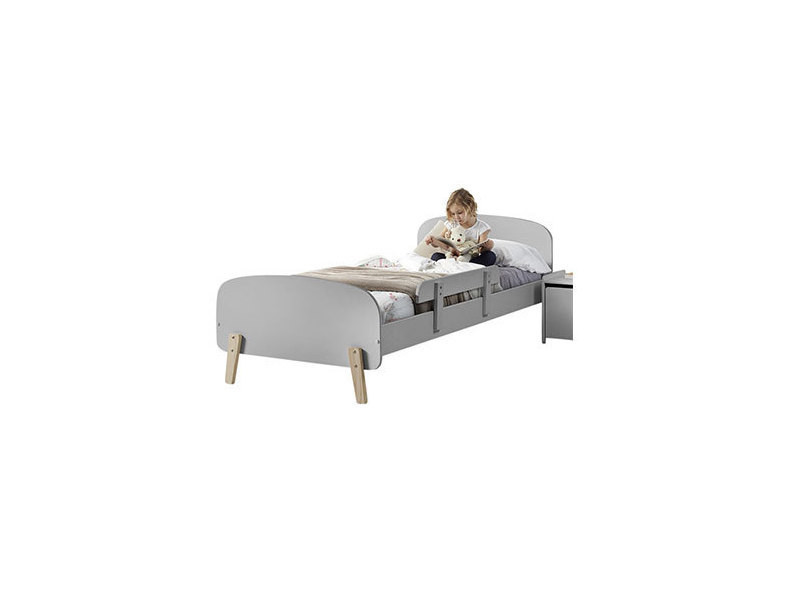 lit 90x200 cm barri re de lit en pin gris kidly. Black Bedroom Furniture Sets. Home Design Ideas