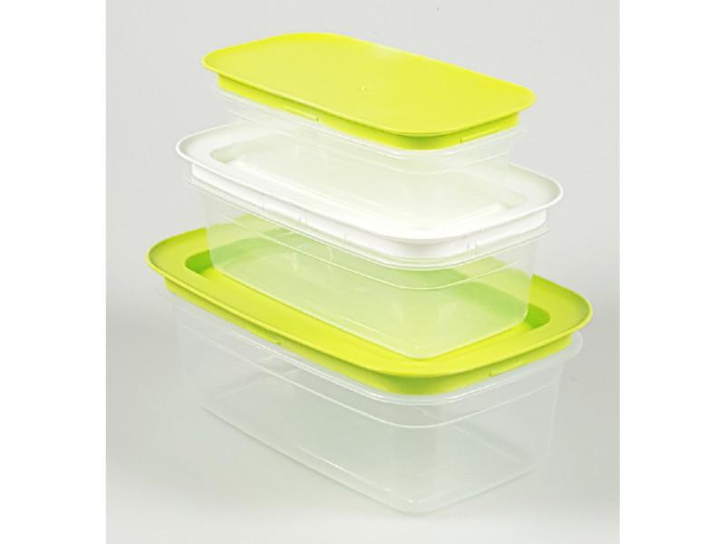 Boîte hermétique moderne 3 boîtes de conservation rectangulaires - vert et blanc