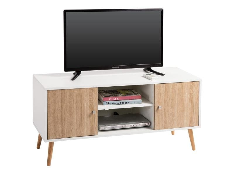 Meuble banc tv design murcia d cor blanc et bois conforama for Meuble conforama tv