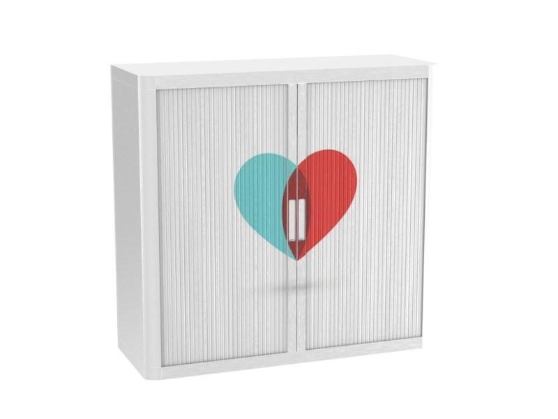 Armoire de bureau métalique porte coulissante h 1m - coeur