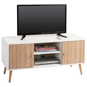 Meuble banc tv design murcia d cor blanc et bois conforama for Banc tv bois blanc