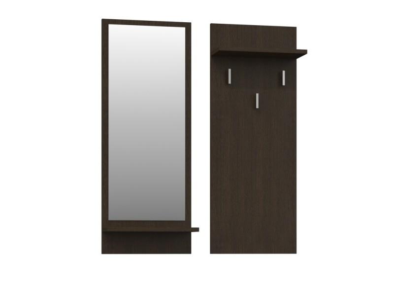 Kameron - porte-manteau d'entrée hall - 3 grands crochets à vêtements - dimensions : 90x35x16 - étagères pratiques - miroir - wenge