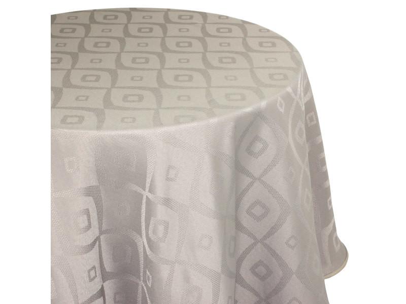 Nappe ovale 180x300 cm jacquard 100% polyester brunch taupe