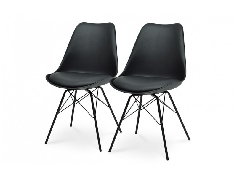lot de 2 chaises scandinave noir conforama. Black Bedroom Furniture Sets. Home Design Ideas