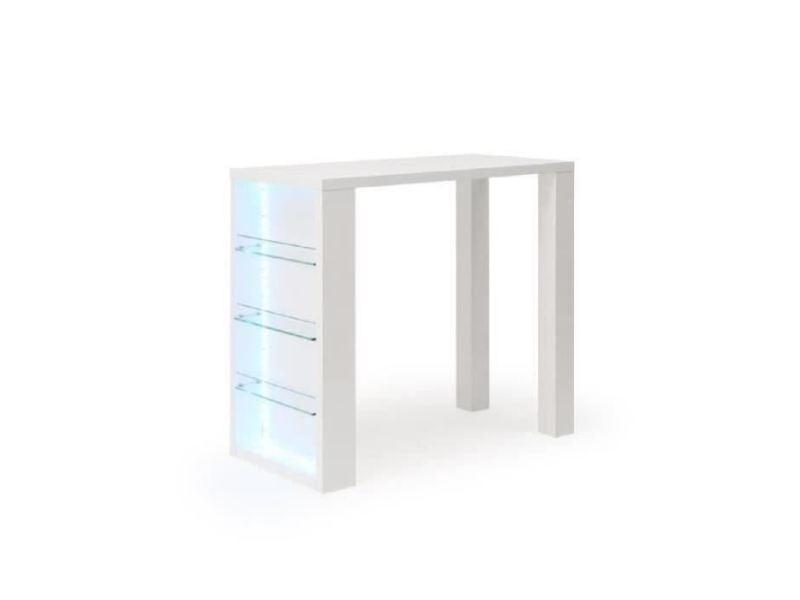 Mange-debout - table de bar - table haute flash table bar avec led de 4 a 6 personnes style contemporain blanc laqué brillant - l 120 x l 60 cm