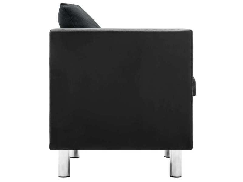 Vidaxl canapé à 3 places simili-cuir noir et gris foncé 247169