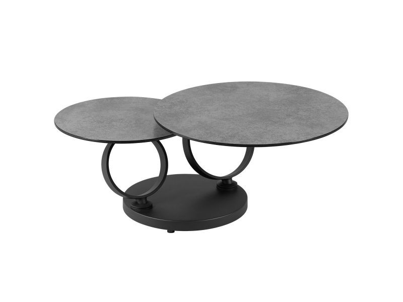 Vikli - table basse ronde double plateaux verre