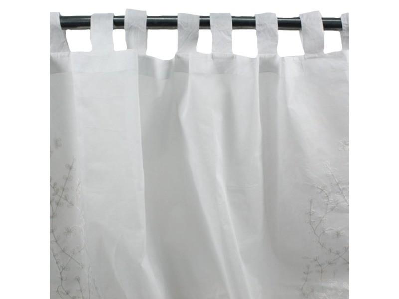 Lylas - voilage en coton à pattes brodé de fleurs blanc 140x270
