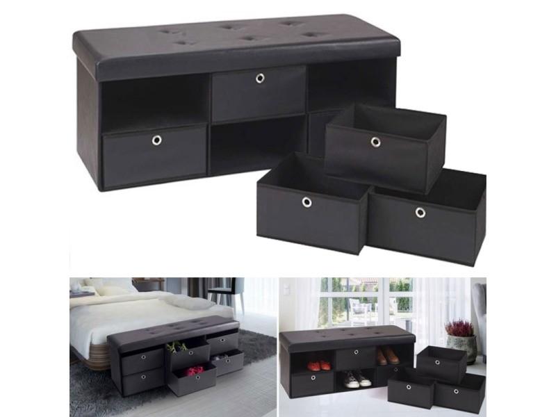 banc coffre rangement noir 6 tiroirs 100x38x38 cm pvc. Black Bedroom Furniture Sets. Home Design Ideas