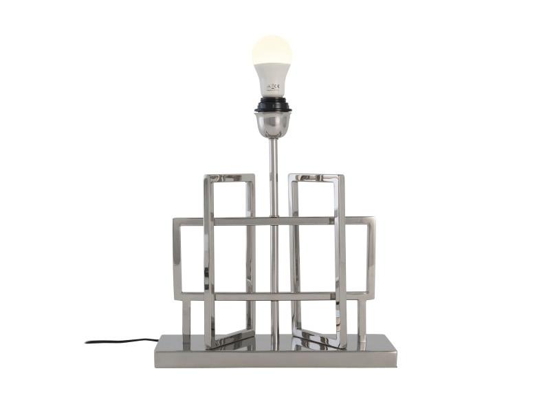 Pied De Lampe Joane Argente En Inox Poli Vente De Lampe Conforama