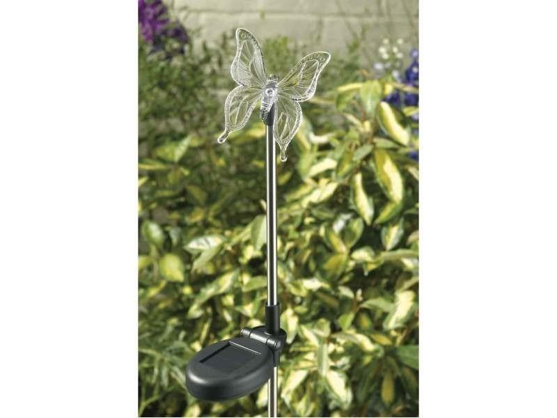 Mobilier de jardin et aménagement extérieur papillon ou libellule solaire. Composé d'une lumière led