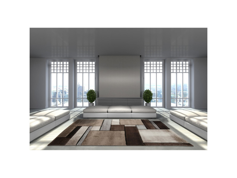 Tapis salon moderne et design brillance 661 beige, marron ...