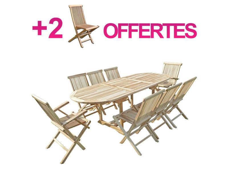 Ensemble salon de jardin en teck mahui 6+2 chaises 2 ...
