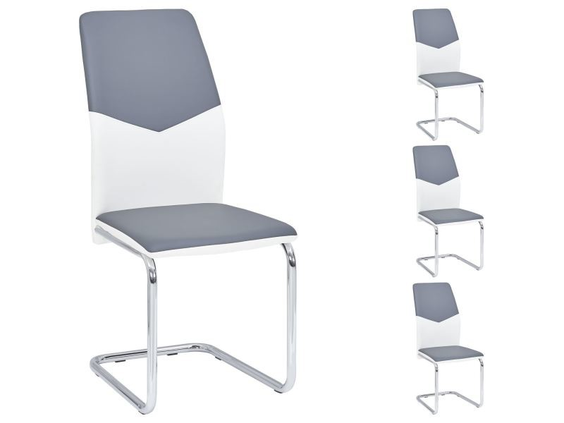 Lot de 4 chaises de salle à manger leona piètement chromé revêtement synthétique bicolore blanc et gris