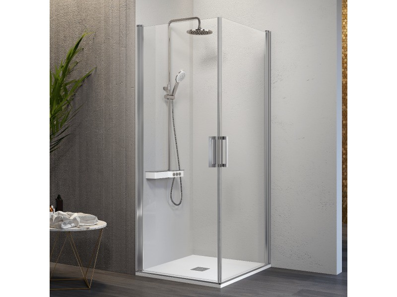 Paroi de douche accès en angle 2 portes pivotantes nardi 60 x 55 cm
