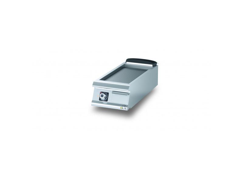 Plancha electrique rainurée chromée diamante 90 - 400 à 800 mm - olis - chromé 400 mm