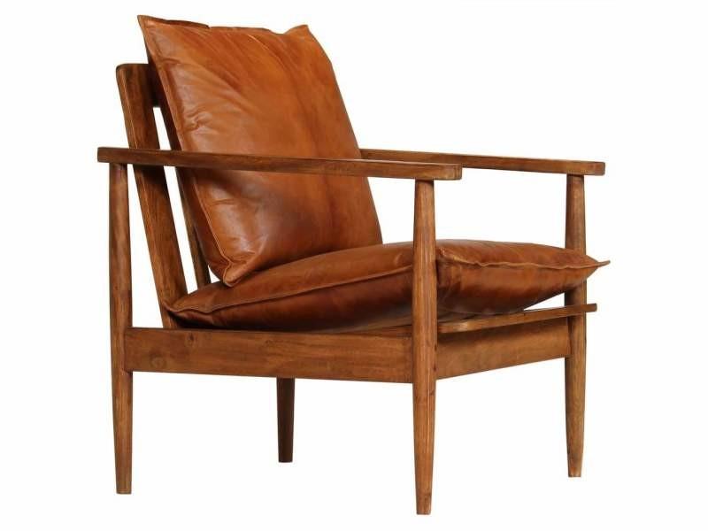 Fauteuil chaise siège lounge design club sofa salon cuir véritable avec bois d'acacia marron helloshop26 1102146/3
