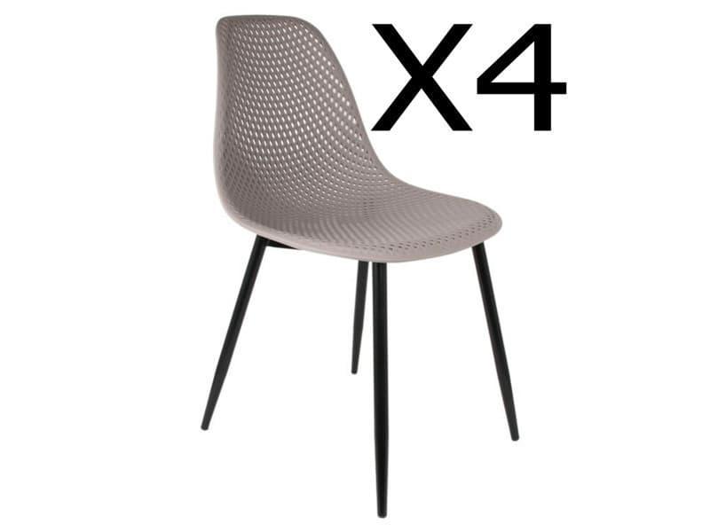 Lot de 4 chaises coloris taupe - dim : 54 x 47 x 84 cm -pegane