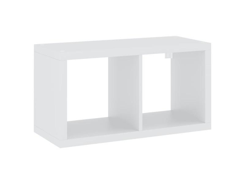 Vidaxl étagère murale sous forme de cube blanc 69,5x29,5x37 cm mdf 323946