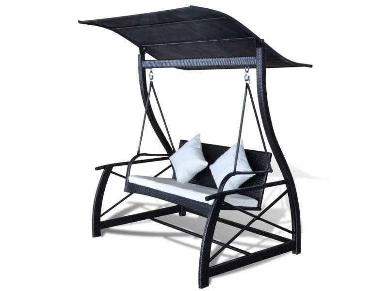 Vidaxl balancelle de jardin rotin synthétique noir 167x130x178cm ...