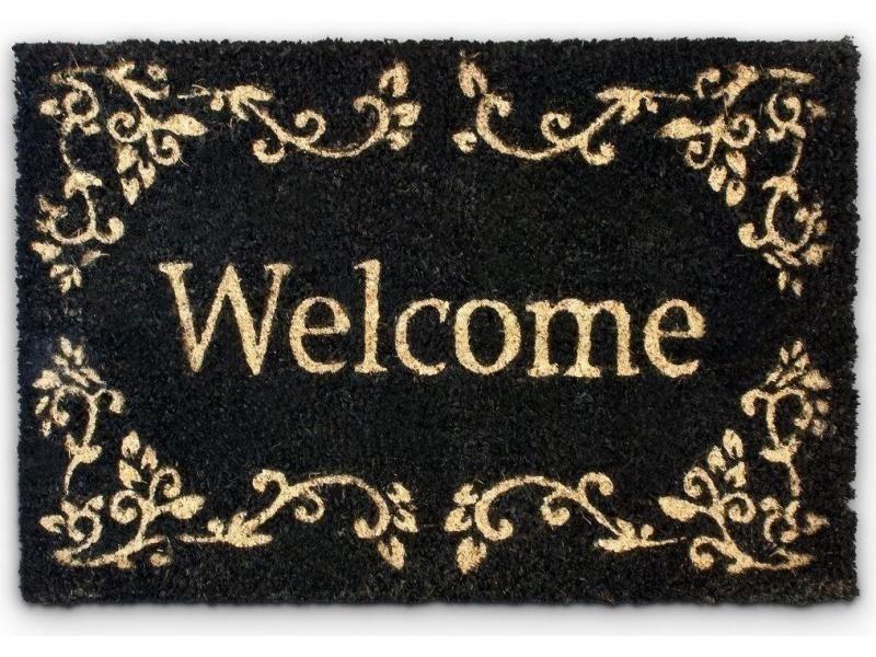 Paillasson tapis porte d'entrée essuie-pieds fibre de coco marron 60 x 40 cm helloshop26 2013038