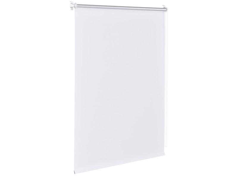 Store enrouleur stylé sans perçage pour tamiser la lumière store à chainette latérale réglage en continue bande de tissu polyester 90 x 220 cm blanc [en.casa]