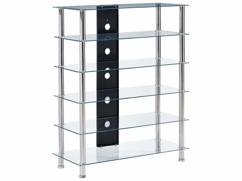 Meuble télé buffet tv télévision design pratique support hi fi transparent 90 cm verre trempé helloshop26 2502238