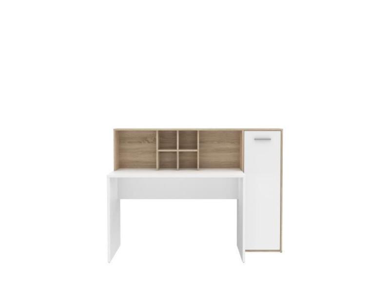 Bureau gauche/droite 1 porte - décor blanc mat et chene sonoma - l 158 x p 60 x h 116 cm - eriadu ERBB351T29