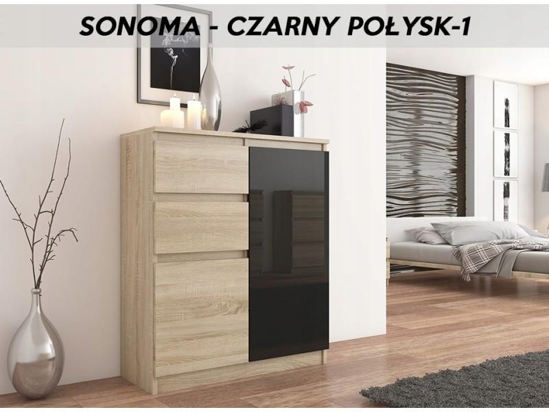 Lisbon s1 | commode contemporaine chambre/salon/bureau | 98x80x40cm | rangement 2 tiroirs/2 portes | buffet style moderne | sonoma/noir laqué