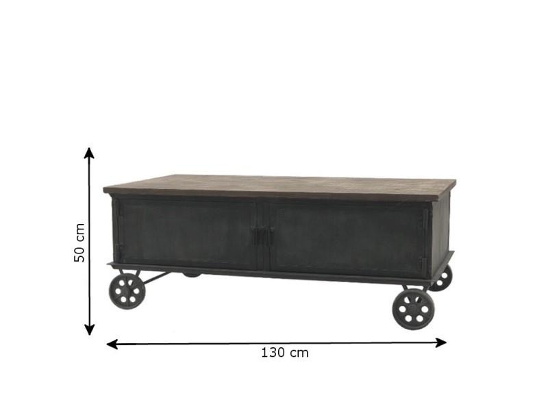 Style ancienne grande table de salon en fer bois roulettes 130 cm x 70 cm 14009-Table-Basse