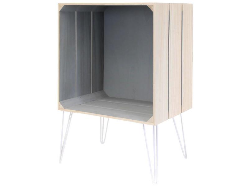 Table de chevet étagère cagette design loft industrie pied métal gris