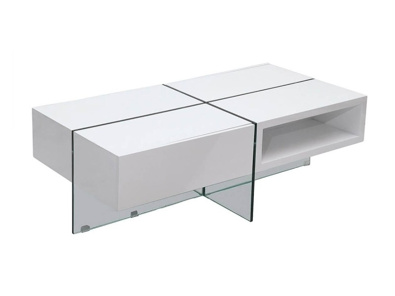 Table basse laquée jade - médium - blanc - blanc