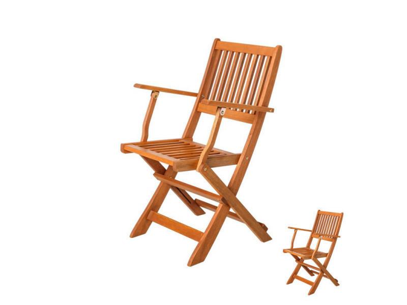 Duo de chaises pliantes avec accoudoirs en bois - moofushi - l 52 x l 65 x h 87 - neuf