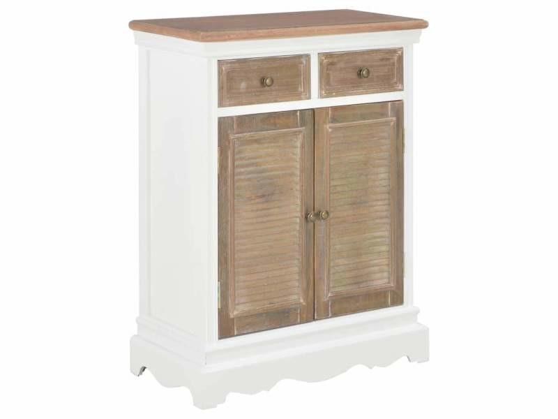 Buffet bahut armoire console meuble de rangement blanc 80 cm bois massif helloshop26 4402214
