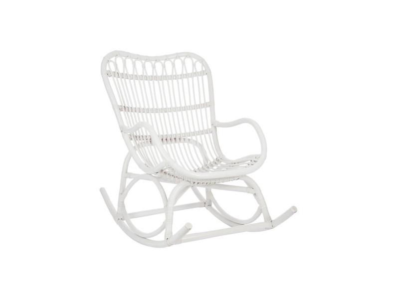Rocking chair rotin blanc - ricky - l 110 x l 66 x h 93 - neuf