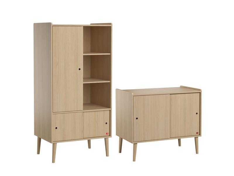 Commode 2 portes coulissantes et armoire 1 porte retro - bois
