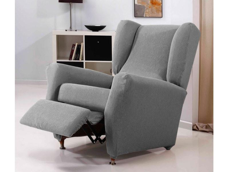 housse de fauteuil relax extensible coton polyester gris. Black Bedroom Furniture Sets. Home Design Ideas