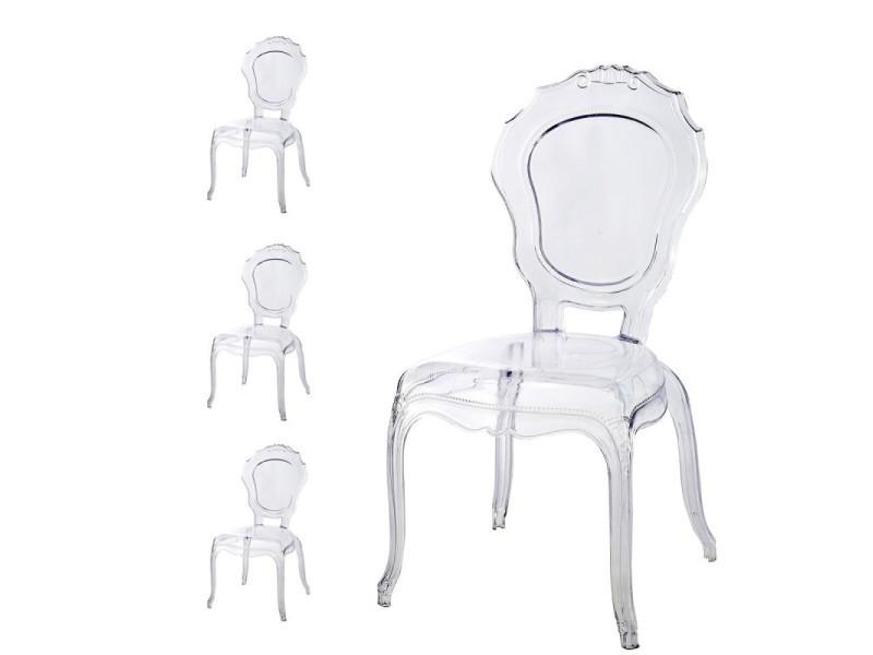 lot de 4 chaises polycarbonate transparent vente de meubler design conforama - Chaise Plexi Transparente Conforama
