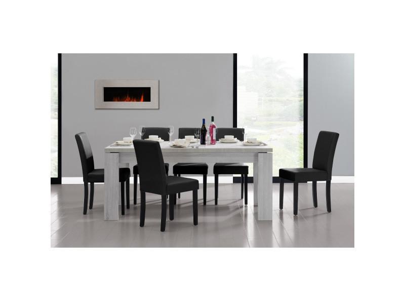 [en.casa] table et jeu de chaises 'helsinki' (blanc - 170 x 79) 6 chaises (rembourrées - noir) - en pack économique