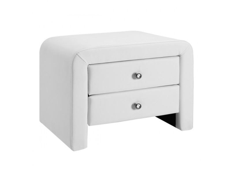 Table Chevet Design En Simili Cuir Eva Blanc Vente De Chevet