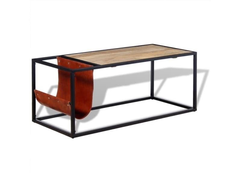 Vidaxl table basse avec porte-revues cuir véritable 110 x 50 x 45 cm 244241