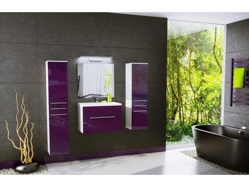 Salle de bain aquatic - 4 éléments -aubergine laqué et blanc ...