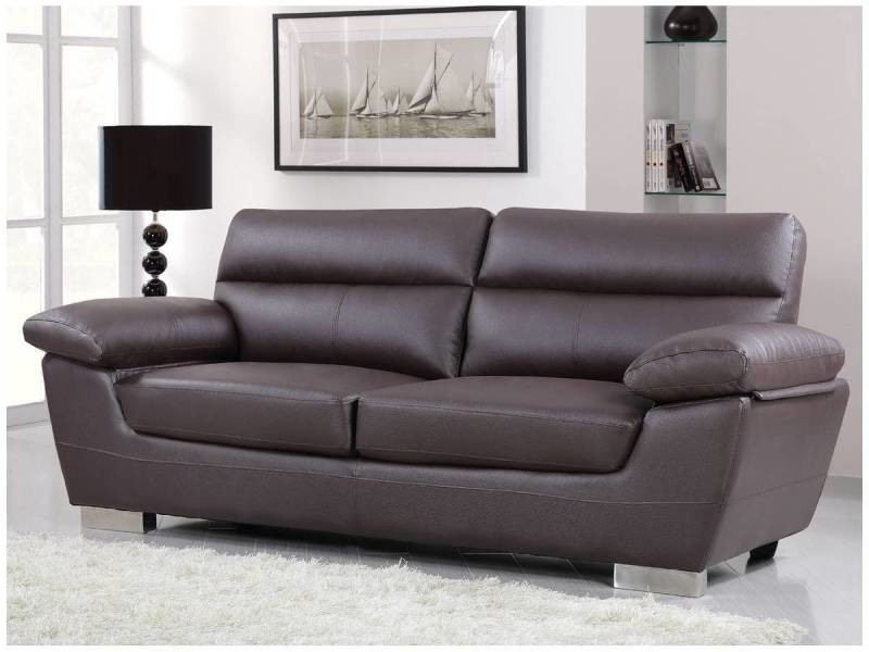 canap cuir reconstitu pvc dallas 3 places chocolat vente de habitat et jardin conforama. Black Bedroom Furniture Sets. Home Design Ideas
