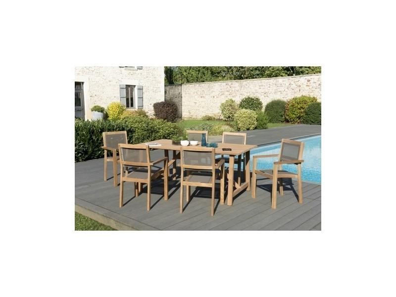 Salon de jardin en teck et textilène avec 1 table rectangulaire et 6 ...