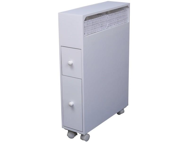 Meuble de rangement pour salle de bain mdf matt laqué blanc avec 2 tiroirs  et roulette p-37498-co c-hanno - Vente de Meuble et rangement - Conforama 61c2683838da
