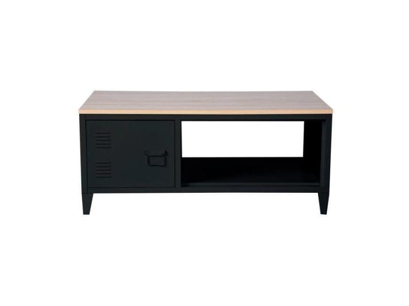 Table Basse Liverpool Table Basse Rectangle Avec Niche Et Tiroir Decor Chene Et Noir L 120 X P 40 X H 46 Cm Vente De Sans Marque Conforama