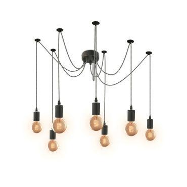 Suspension Araignée 7 Ampoules Câble Noir Et Blanc Vente De The